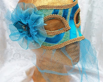 Blue Brocade Masquerade Mask, Blue and Gold Satin Brocade Masquerade Mask with Veil