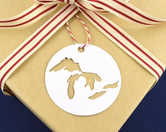 Christmas Gift Tag Pack, Great Lakes Gift Tags, Midwest Holiday Tags, Set of 6 Gift Tags Perfect for Holiday Gift Wrapping, Gift Toppers
