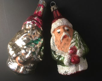 Pair of 1950s Santa Baubles Christmas Tree Decorations Ornaments
