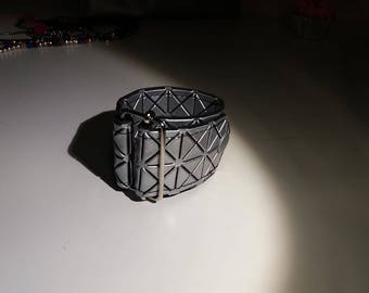Leather Bracelet silver and black on Silver buckle