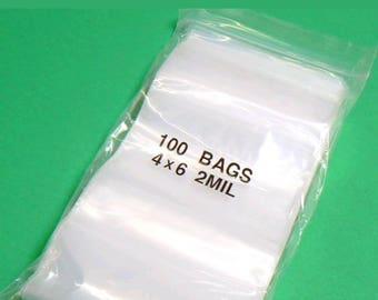 Clear Poly Bags 100 count 4 in x 6 in  2mil  Zip Lock
