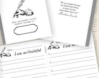 Mini Gratitude Journal printable paper crafting scrapbook mini book journal jo instant download digital collage sheet - VDJORE1072