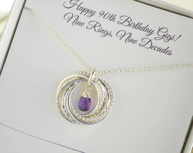 90th Birthday gift for grandma, February birthstone necklace, 9th Anniversary gift, Amethyst birthstone necklace, 90th Birthday for mom
