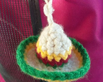 Crochet Mini Sombrero Keychain, Cinco de Mayo. Taco Tuesday keyfob,hat keychain