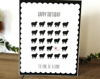 Handmade Birthday Card, Black and White, Sheep, One of a Kind, Blank Inside, Free US Shipping