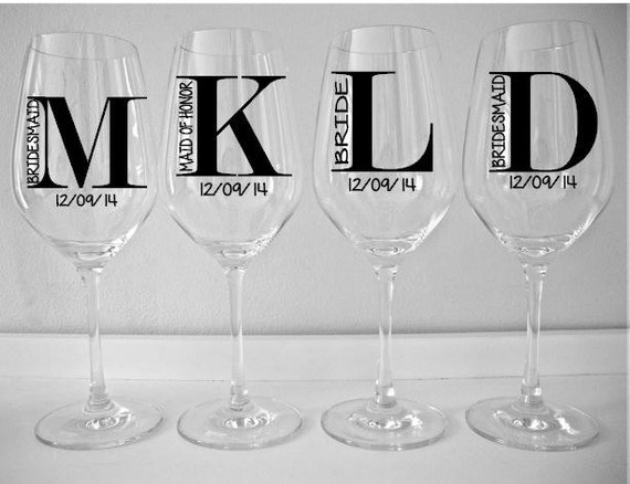 Single diy wine glass decal monogram with title and date
