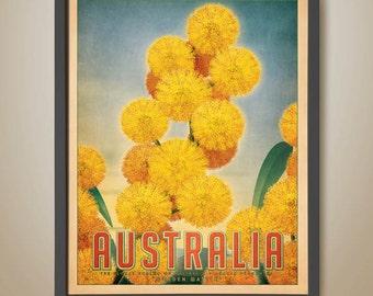 Australian Travel Poster. Golden Wattle Poster. Australian Outback. Wattle Tree. Wattle Flower.