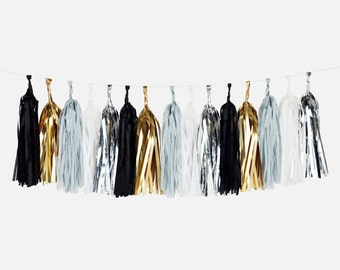 Tassel garland - BLACK colors : white, black, grey, gold foil and silver foil colors - Made in France