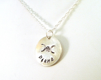 Pagan Personalized Name Necklace with Triple Moon Goddess Pentacle