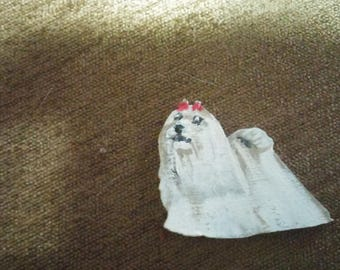 Maltese dog pin custom wood