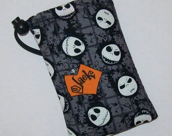 "Pipe Pouch, Jack Skellington, Pipe Bag, Pipe Case, Nightmare Before Christmas, Padded Pipe Pouch, Goth, 420, Smoke Accessory - 5"" DRAWSTRING"