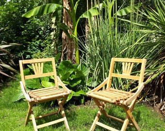 Vintage Art Deco Children's Chairs Wooden Folding Campaign Chairs Deck Chairs