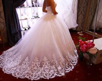 Ball gown wedding dress, Venecia wedding dress, wedding dress long train, wedding dress with lace, swethear neck line wedding dress