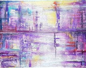 Original abstract oil pastel painting