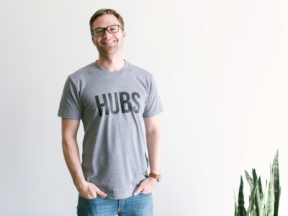 HUBS T-shirt • Husband Shirt • Hand-lettered Typographic Design for Groom or Hubby • Anniversary Shirt Gift • Wifey Hubs • FREE SHIPPING 22Y6MLBIm
