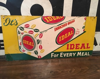 """Rare Original Vintage  Ideal Bread Metal Sign Embossed Stamped Stout Sign Co, St. Louis,. MO. Metal Advertising Sign 13""""x28"""""""