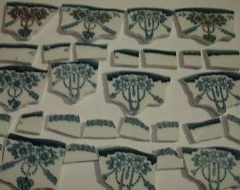 Supplies - Mosaic Tile Pieces -  Focal Pieces- Teal - Gold- Rose Swags Pieces - Broken China Plate -Tessera Tile
