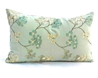 """Soft Blue, Teal and Ivory Embroidered  Rectangular Cushion Cover.  Includes  12"""" x 18"""" pillow insert."""