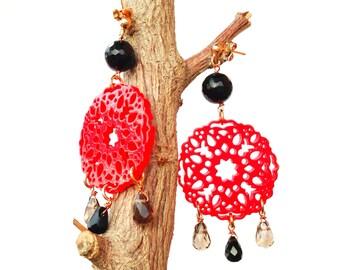 Red Mandala Earrings