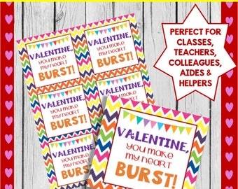 Valentine's Day Tags: You make my heart BURST! Perfect for starburst treats!  *INSTANT DOWNLOAD*!!!