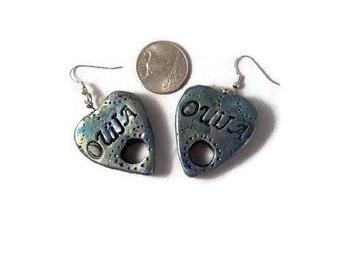 Ouija earrings, ouija board, ouija board earrings, voodoo earrings, ouija, ouija jewelry, dangly earrings, halloween jewelry, planchette