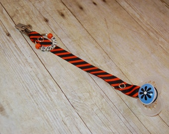 Pacifier Clip, Orange & Black Stripe, Personalization Available, Ready to Ship