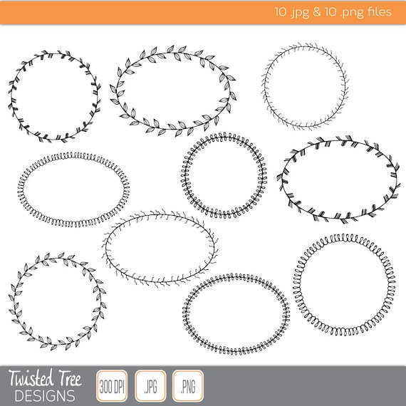 10 Hand Drawn Fancy Border Circle Oval Frame Clipart For DIY InvitationsScrepbooking Floral Art From TwistedTreeDigital On Etsy Studio