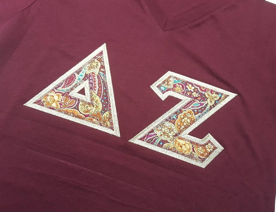 Sorority and fraternity greek v neck stiched letter shirts for Cute greek letter shirts