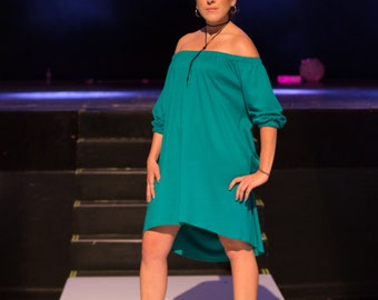 Bubbly Sleeve High Low Dress / Off the shoulder / T-Shirt Dress / Bubbly Sleeve / Off the Shoulder Dress / Dress / High Low / High Low Dress