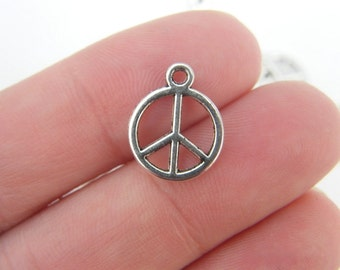16 Peace sign charms antique silver tone P4