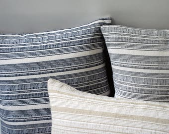 Kendrick Collection // DecorativeThrow Pillow Cover 24x24 + 10 More Sizes // Grey Pillow with White Stripe // Modern Pillow with Stripes