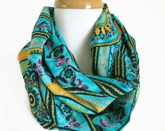 Blue Infinity Scarves - Blue and Gold Loop Scarf - Tribal Scarf - Under 30