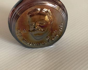 Wheaton Mini Bottle, 70's Presidential Series, William Taft, Iridescent Glass Decanter