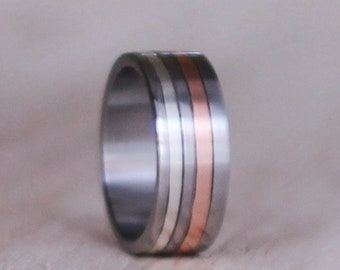 Sterling Silver and Titanium Band,  Men Ring Band, Titanium Ring wiht Copper and Silver Inlay