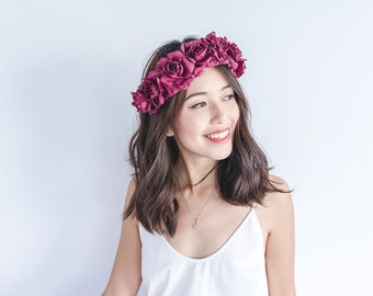 burgundy wine rose crown - Valentines maroon floral statement headpiece, santa monica, festival crown, oversize rose.