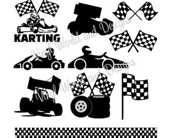 Checkered Flag, SVG, Racing Flags, Go Kart, Cut File, Cricut file, Silhouette, DXF, PNG, jpeg, studio, Racing Cars, Kids, Go Kart, Sprint