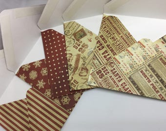 Christmas themed envelope set, set of 5 small envelopes, stationary, Christmas stationary, snail-mail, pen-pal supplies, letter writing