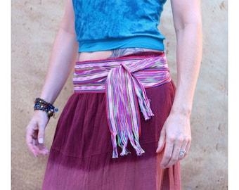 Ikat Fabric - Fuchsia Pink Sash, SA54 - Woven Belt - Gypsy Clothing - Guatemalan Textiles - Hot Pink Sash Belt - Bohemian Belt