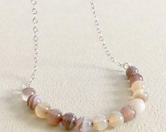 Botswana Agate Necklace, Beaded Necklace, Sterling Silver Minimalist Choker, Gemstone Layering Necklace, Gemstone Jewelry, Delicate Choker