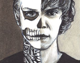 Evan Peters as Tate Langdon American Horror story Copic Marker Drawing Art Print  11.7 x 16.5 inches