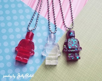 Lego/Robot Man Pastel Goth Cute Handmade Resin Necklace (20 inch ballchain)