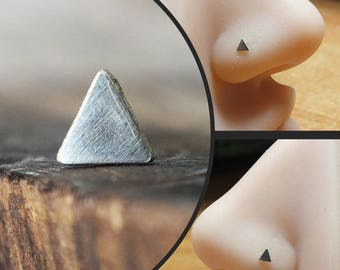 Silver Triangle Nose Stud | Geometric Piercing | Handmade Nose Stud | Nose Body Jewelry | Custom Nose Ring | Silver Nose Ring | Nose Screw