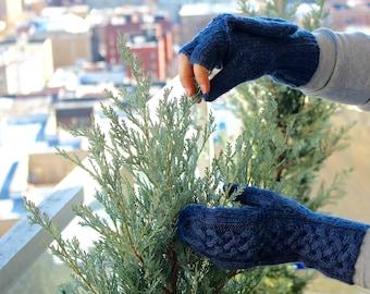 Navy Blue Fingerless Gloves with Mitten Cover - Medium