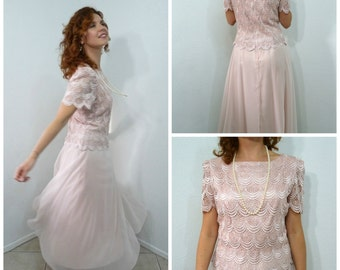 Vintage 80s Pastel Pink Dress lace embroidery After Dark Sheer Crepe Gorgette  Size 8 Small