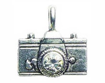 5 pcs - Silver Camera Charm with Crystal 22x21mm - by TIJC - SP0249