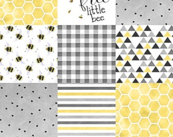 Neutral Baby Quilt, Bee Baby Blanket, Yellow Grey Gray Minky Baby Blanket, Modern Patchwork Quilt, Neutral Nursery Blanket, Bee Crib Quilt