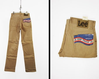 Vintage 70s Lee Corduroy Pants Deadstock NOS Riders Khaki Beige Made in USA - 28 x 34