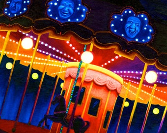 Carousel , wall art decor, Oil Painting bright colorful kids night carnival creepy scene , Illustration Print, fun bright colorful circus