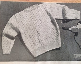 Vintage knitting pattern, baby jumper, textured stitch.