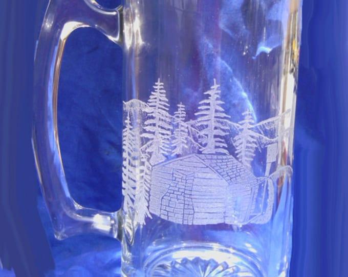 Log Cabin in mountains engraved on 20 oz mug